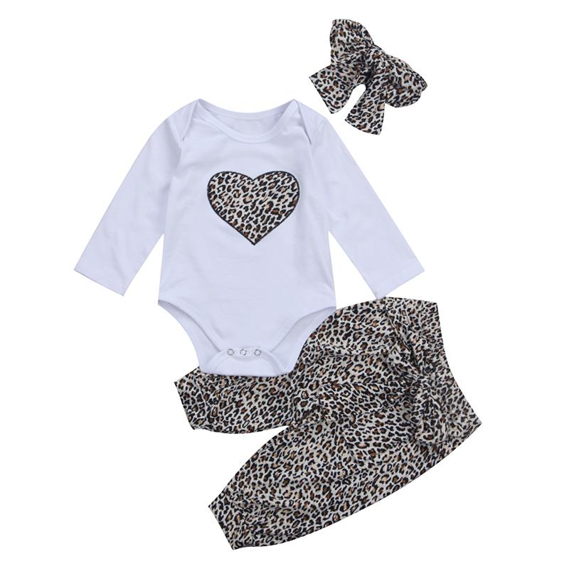368f8641f2b 2019 Set Leopard Newborn Baby Clothes Cute Long Sleeve Heart Print Romper  Tops+Leopard Pant Headband Outfit Bebek Giyim Clothing From Heathera
