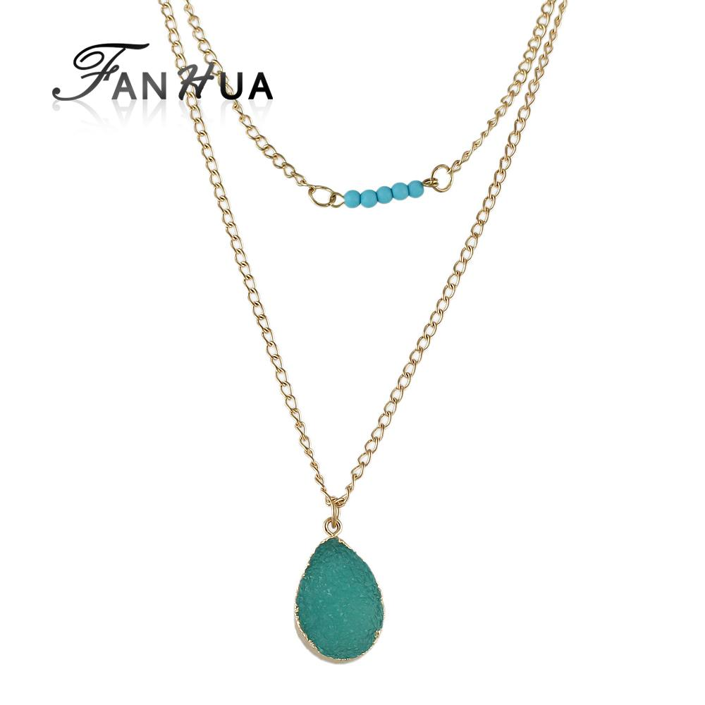 FANHUA Ethnic Jewelry Multilayer Chain Lady Girly Necklace Boho Blue Natural Stone Water Drop Pendant Necklace Women