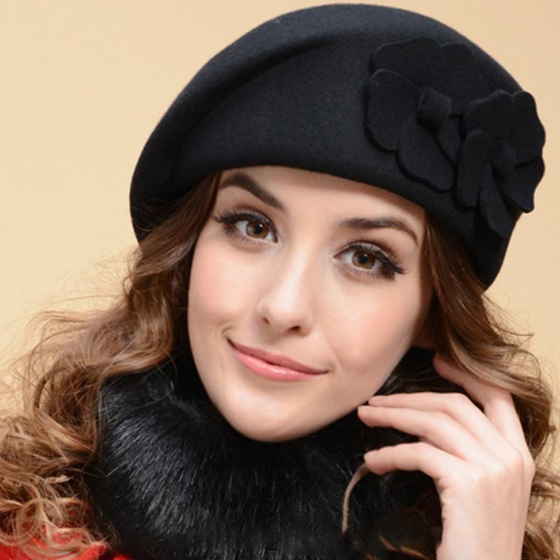 94f4f7312a4 2019 Women Merino Wool Beret Hat Lady Winter Hat Women Artist Flower Boina  Hood Lady Elegant Headgear Italian Style Beanie From Exyingtao