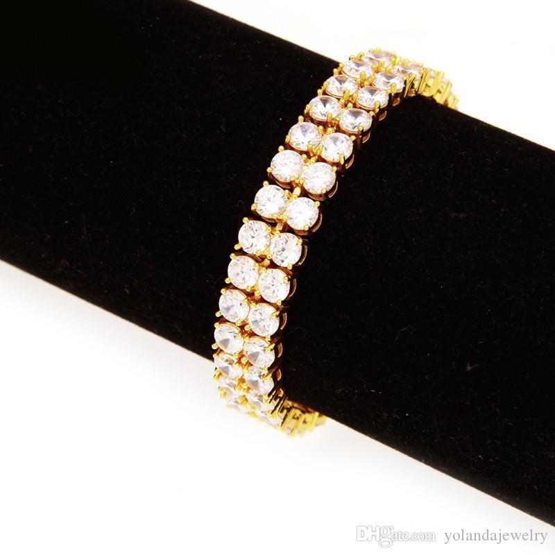 10MM 21.5CM Yellow Gold Silver Color Iced Out CZ Chain Bracelet for Men Fashion Cool Hip Hop Bracelet Link Chain