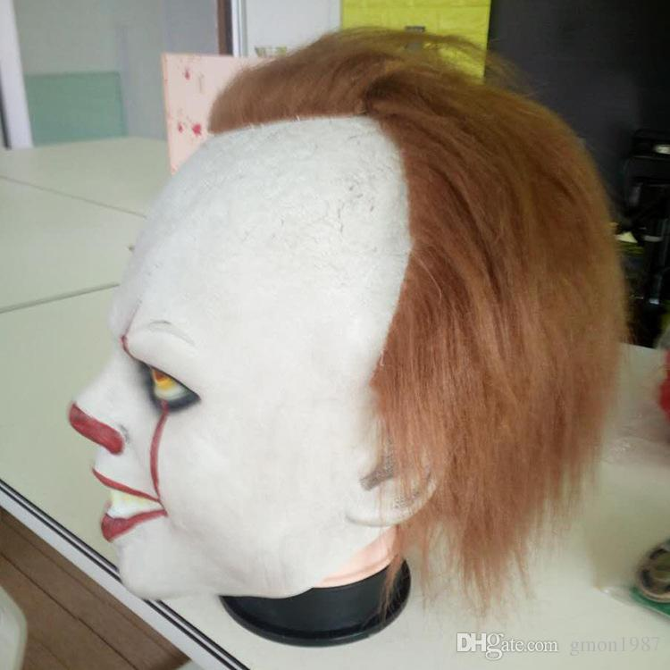 2018 Hot Sale Joker Clown Costume Mask Creepy Evil Scary Halloween Clown Mask Adult Ghost Festive Party Mask Supplies Decoration