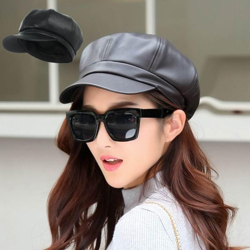 Fashion Women Solid Color PU Leather Caps Octagonal Cap Casual Vintage Hats  Newsboy Cap For Women Ladies UK 2019 From Kuchairly 01e4e0dbaca