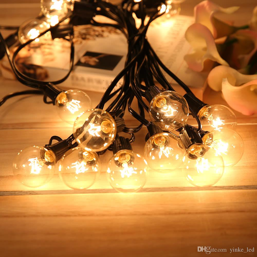 Patio Lights G40 Globe Bulb Holiday Party Christmas String Light,Warm White  25clear Vintage Bulbs 25ft,Outdoor Backyard Garland Decor Lamp String Lights  ...