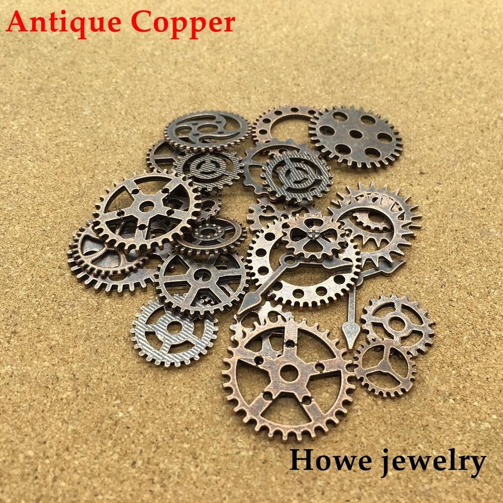 2019 mixed 100g antique copper steampunk gears and cogs clock hands