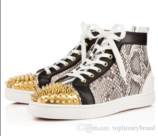Men And Women Designer Studs Sneakers Famous Brand Red Bottom Designer Mens  Luxury Shoes Genuine Leather 9997b00d777c