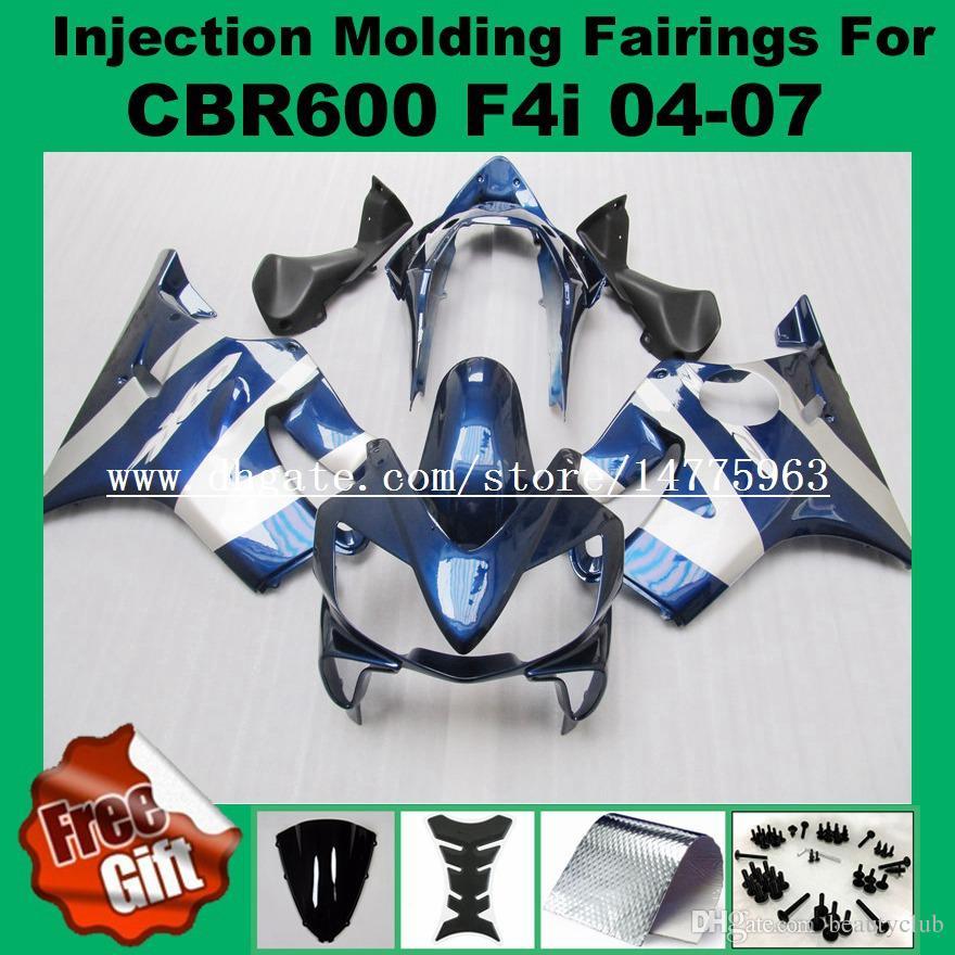 Injection Fairings For 04 - 07 HONDA CBR600F4i 04 05 06 07 CBR 600 F4i CBR600RR F4i 2004 2005 2006 2007 Fairings kit red flame black #8722A
