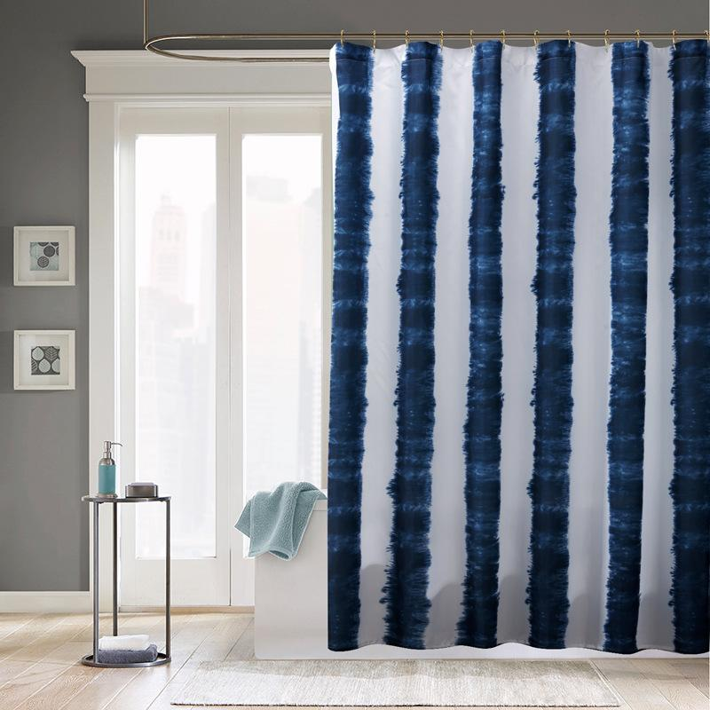 2018 New Waterproof Fabric Shower Curtains Blue White Stripe Printed Mildewproof Polyester Without Hooks Bath Decor From Sheiler 2572