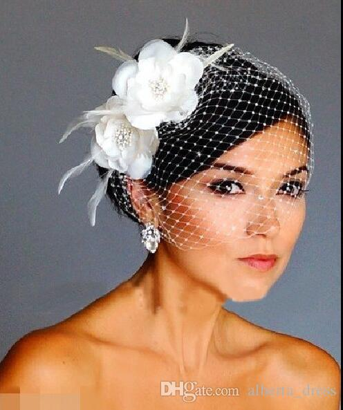 luxury wedding dress Birdcage Veils White Flowers Feather Birdcage Veil Bridal Wedding Hair Pieces Bridal Accessories cap veil hat