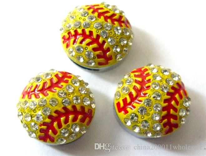 8mm Crystal Rhinestone Colorful Sports Ball Charms Slide Charms Fit Pet Dog Cat Tag Collar Wristband Jewelry Making