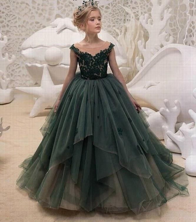 Grosshandel Charming Dunkelgrun Spitze Tull Blumenmadchen Kleid