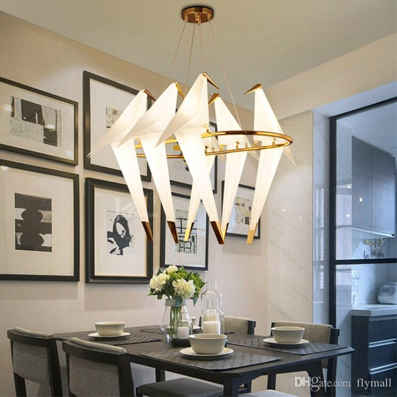 Nordic Thousand Paper Crane Bird Pendant Lights LED Lamps for Dining Room Bedroom Living Room Decor Cafe Gold Hanging Fixtures