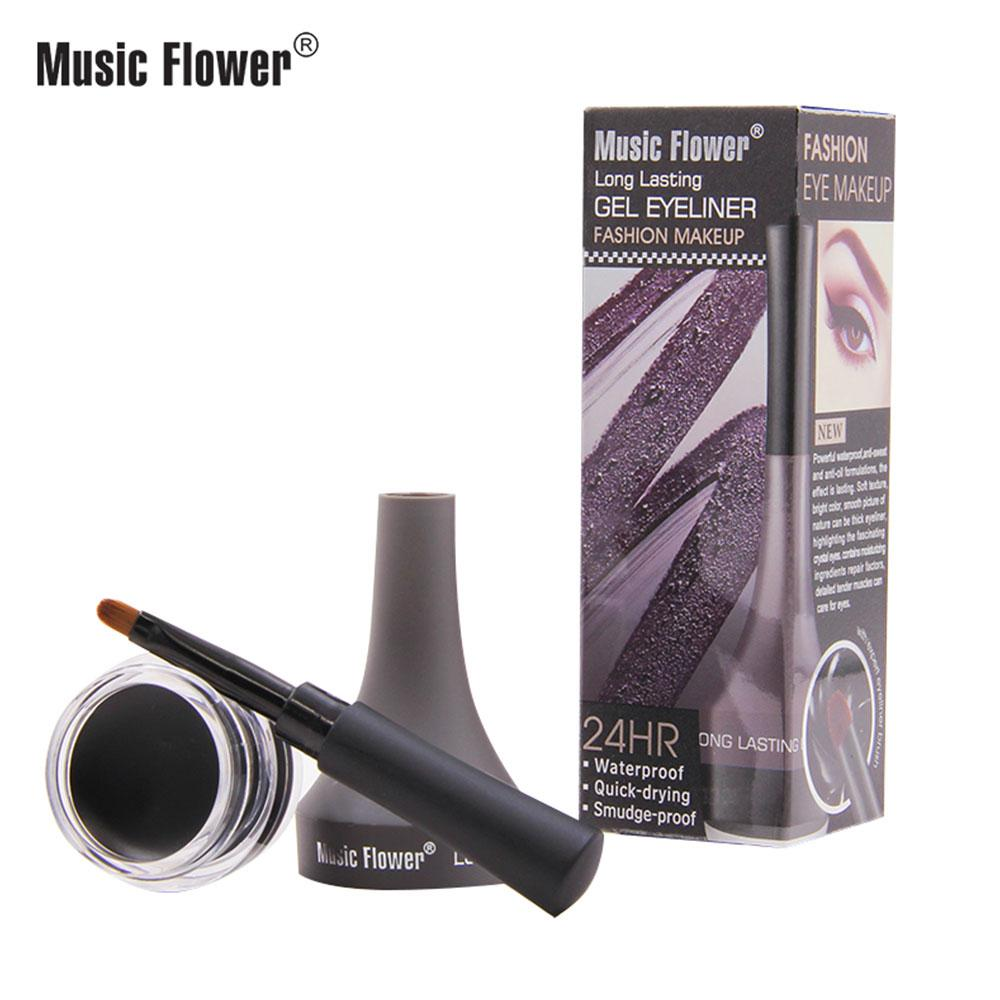 Music Flower 5 Color Waterproof Eyeliner Gel Quick Dry Smudge-proof Eye Liner Cream With Brush 24 Hours Long-lasting Eyes Makeup