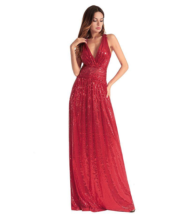 500bc374de8f0 Women Backless Maxi Dress Sequin Sexy Party Prom Deep V Neck Dresses 2018  Wedding Evening Elegant Long Vestidos robes