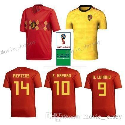 ad78fb5be41 2019 2018 World Cup Belgium Soccer Jersey 2018 Belgique Home Red Soccer  Shirt #10 E.HAZARD #7 DE BRUYNE #9 R.LUKAKU Belgien Football Uniform From  ...