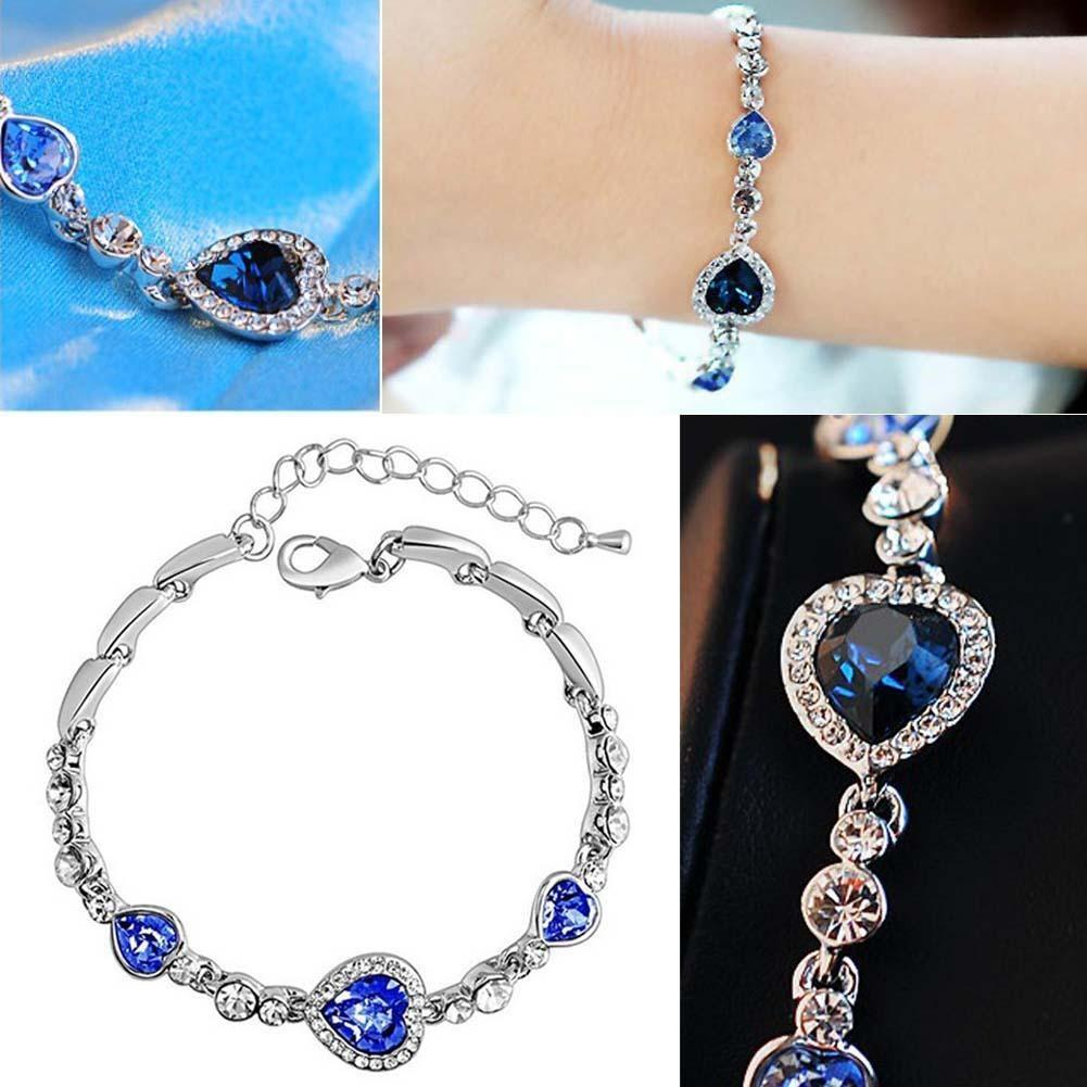 Fashion Charming Women Braclet Ocean Blue Crystal Rhinestone Heart Bangle  Bracelet For Gifts Silver Earrings Silver Charms For Bracelets Uk From ... 29b7d7c1af63