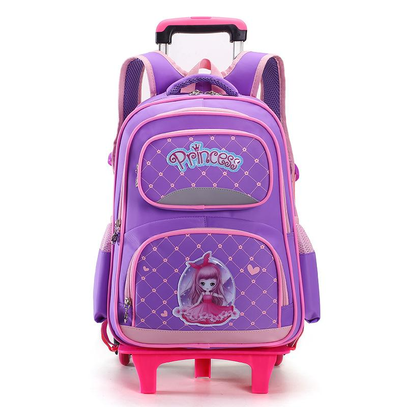 e8f60ee5e8 Children Trolley School Bag Princess School Backpack Wheeled Bag For ...