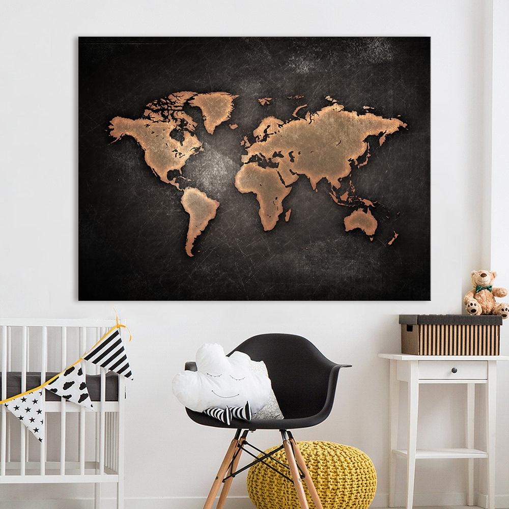 2018 Canvas Painting Office Wall Art Huge Dark World Map Paintings Print On  Canvas Hd Abstract Home Decor From Haifoo, $12.3 | Dhgate.Com
