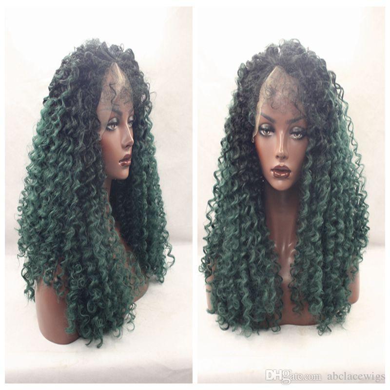 Charmant deux tons Ombre vert court Afro Kinky perruques bouclés avec des cheveux de bébé résistant à la chaleur sans colle synthétique avant de lacet perruques pour les femmes noires