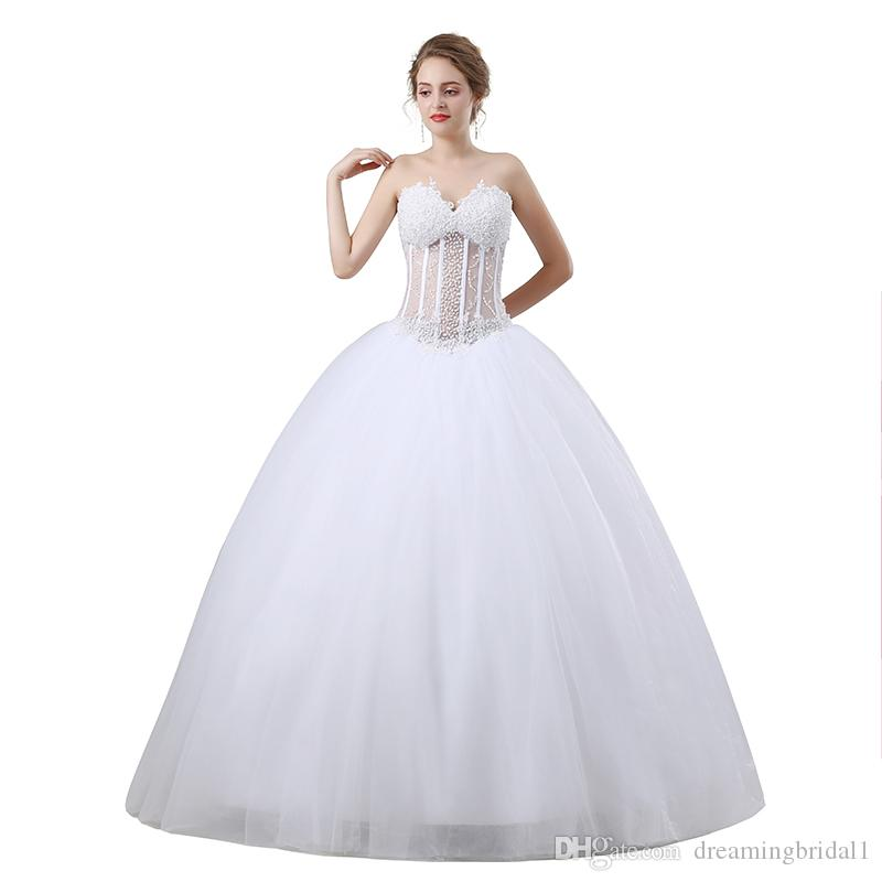 Beading Ball Gown Wedding Dresses 2018 New Sleeveless Sweetheart ...