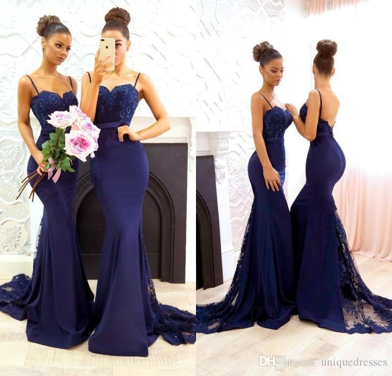 414c87699f Navy Blue Lace Appliques Beaded Bridesmaid Dresses 2018 Spaghetti Straps  Satin Mermaid Long Maid Of Honor Formal Evening Wear Prom Gowns Junior  Bridesmaid ...