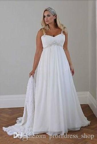 efdcbca6753a Discount New Plus Size Casual Beach Wedding Dresses 2019 Spaghetti Straps  Beaded Chiffon Floor Length Empire Waist Elegant Bridal Gowns Wedding  Dresses Usa ...