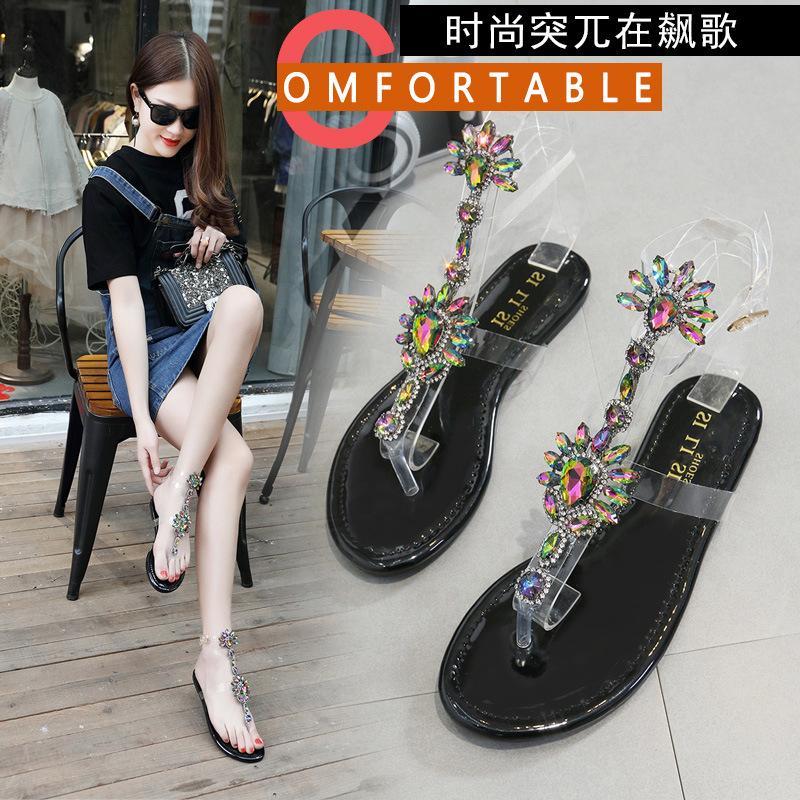 8660ed441 Explosion Models Diamond Sandals Flat Size Women S Shoes Word Buckle Flat  Sandals Roman Women Sandals Girls Sandals White Sandals From Goodluck8889