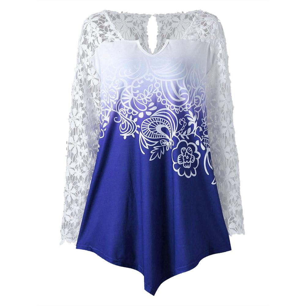 2414deda2eb 2019 Plus Size 4XL Women V Neck Long Sleeve Floral Lace Patchwork Yoke Ombre  Top Blouse Feminina Blusas Mujer De Moda Chemise Femme From Qinfeng09