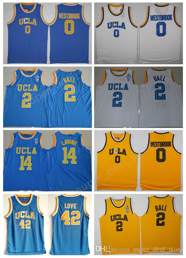 Cheap 2 Lonzo Ball College Jerseys UCLA Bruins Basketball 14 Zach LaVine 0  Russell Westbrook Jersey 42 Kevin Love Stitched Yellow Blue White Ball  College ... 538dcacea