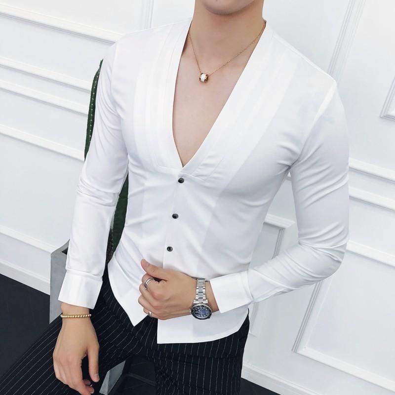 Compre Deep V Camisa Sin Cuello Sexy 2018 Nuevo Otoño De Manga Larga Slim  Fit Cuello En V Plisado Camisa De Vestir Sólida Camisa Masculina Vino Tinto  A ... f8204e4e4ff