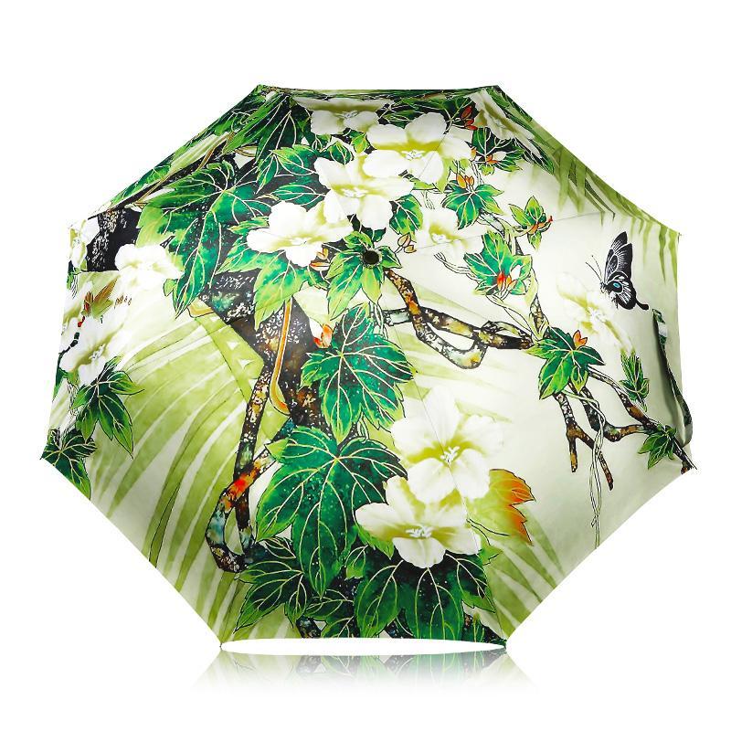 Satın Al Ulusal Tarzı Yeşil Ağaçlar çiçek Boyama Kadın Yağmur Güneş