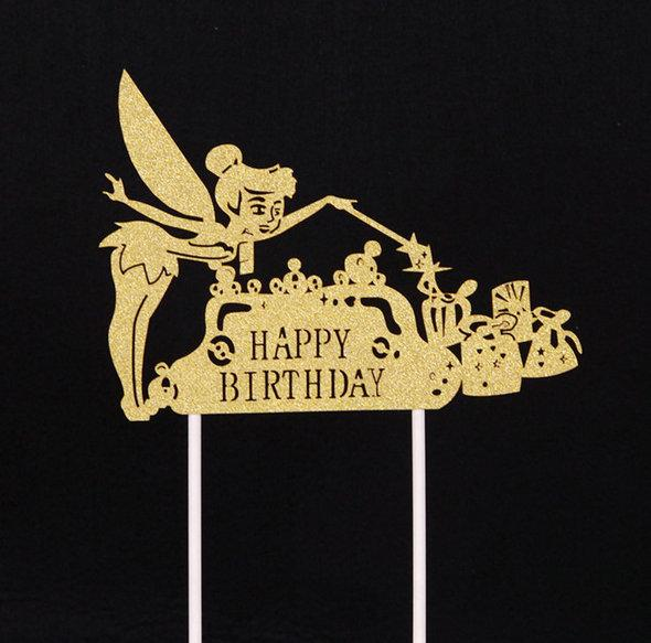Gold Silver Happy Birthday Party Cake Toppers Decoration for kids birthday party favors Baby Shower Decoration Supplies