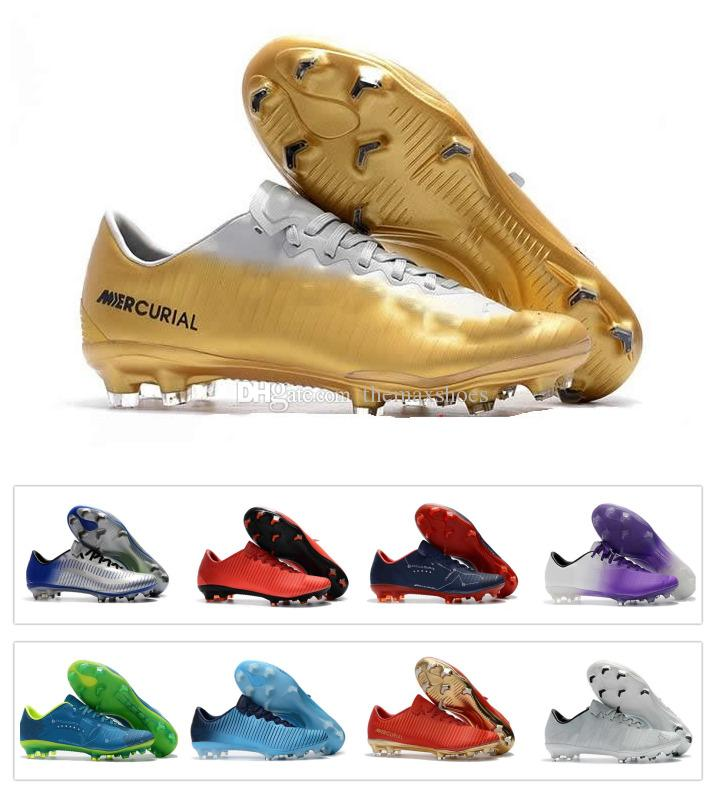 2018 CR7 Soccer Cleats Mercurial Vapor XI FG Cheap Leather Football Boots  Low Mercurial 11 Soccer Shoes Ronaldo Neymar High Quality Mens UK 2019 From  ... 895233576