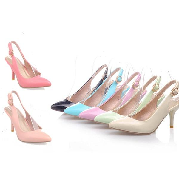 820c15025a17 Women Patent Leather Pointed Toe Pumps Medium Heel Shoes Woman Comfy Slip  On Footwear Plus Size Beige Pink Black Red Blue Purple Shoes Cute Shoes From  ...