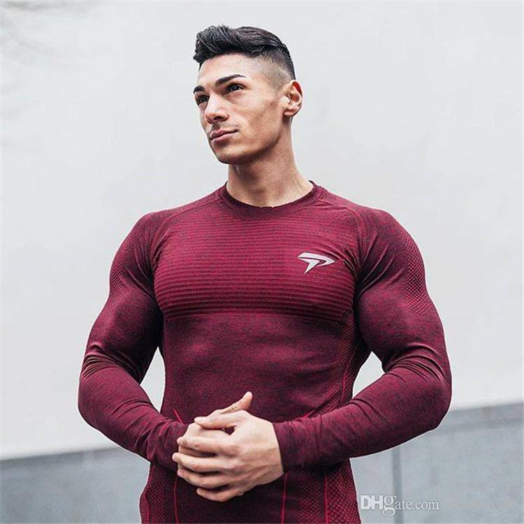 5c49e2ab Fashion Brand Bodybuilding T Shirt Men Gyms Clothing Long Sleeve Tight Slim Fit  T Shirt Fitness Men Tees Tops Funky T Shirt Tie Shirts From Clothinght, ...