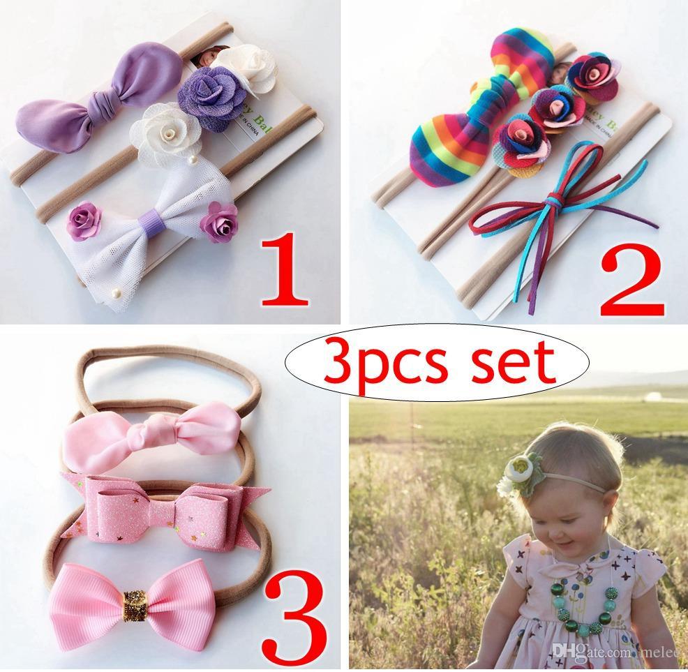 INS European Baby Girl Rainbow Headband Set Kids Flower Nylon Hair Bows  Children Hair Band Rabbit Ears Hair Accessories Set Christmas Hair  Accessories Kid ... 8fb827a53b4