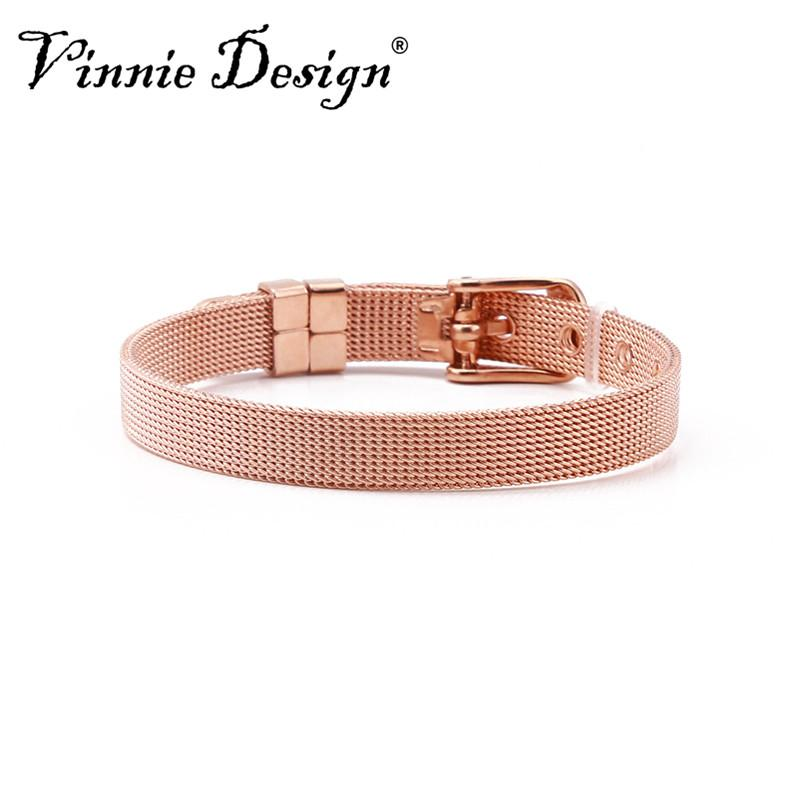 Vinnie Design Jewelry 8mm Stainless Steel Keeper Wrap Bracelets Mesh Bracelet fit for Slide Charms
