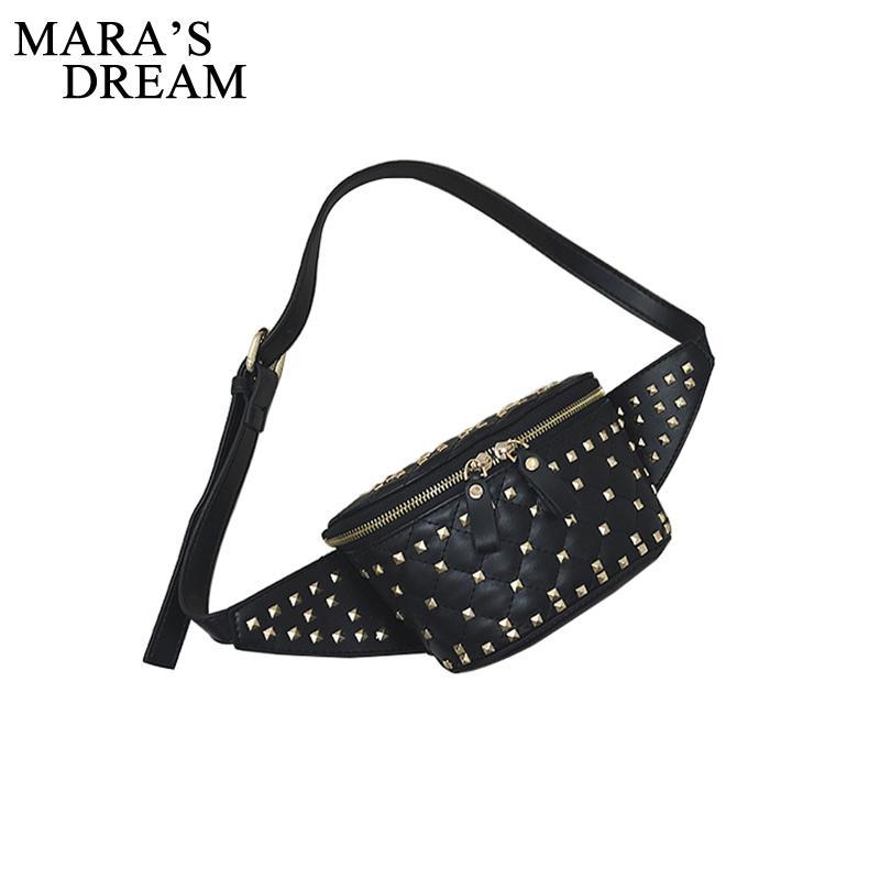 f1b2a8b3a000 Mara's Dream Fashion Waist Bag Women Rivet Waist Belt PU Leather Belt Bags  Big Capacity Black Travel Female Fanny Pack Bags