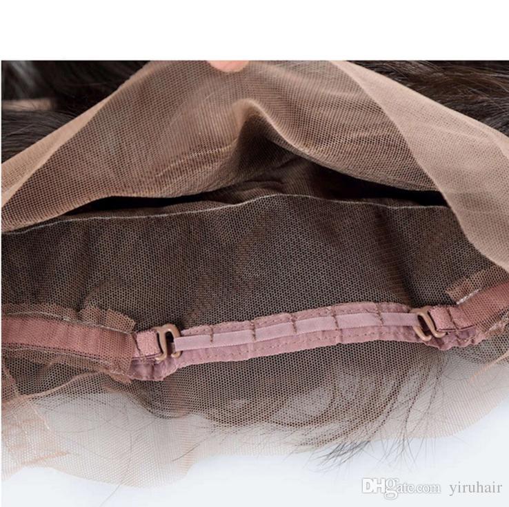 Brasiliani capelli umani a onda profonda riccia 360 pizzo frontale precipitato naturale nero vergine capelli umani wefts con chiusura frontale