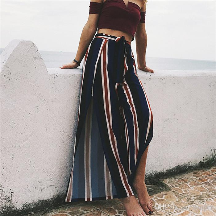 60a1988d3021 2019 Women Full Length Wide Leg Pants Split Bohemian Long Loose Casual  Trousers High Waist Striped Print Casual Sexy Bottom From Suuper, $29.65 |  DHgate.Com