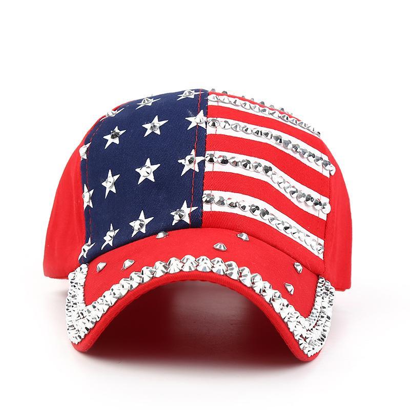 4efaf871 2018 Genbitty Spring And Summer Star Pattern Baseball Cap Rivet Printed  Women Men American Flag Snapback Hip Hop Hats Cheap Hats Richardson Caps  From ...
