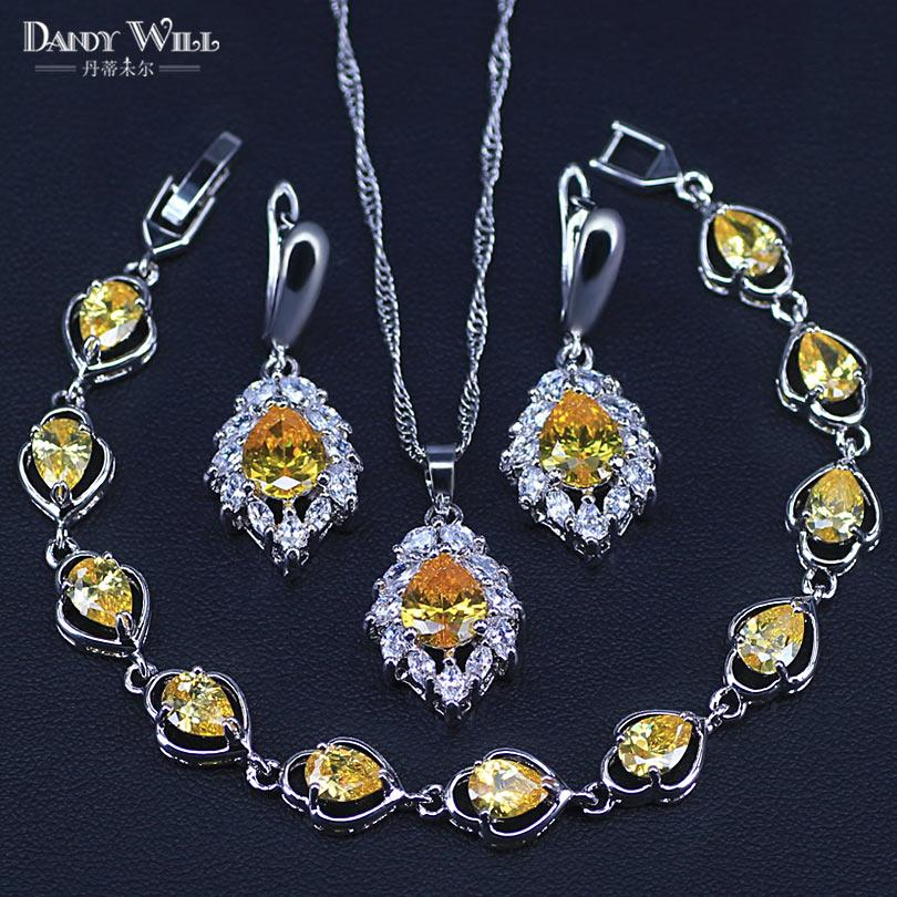 Lost Price 925 Sterling Silver Jewelry Yellow Cubic Zirconia Jewelry Sets  For Women Earrings/Pendant/Necklace/Rings/Bracelet