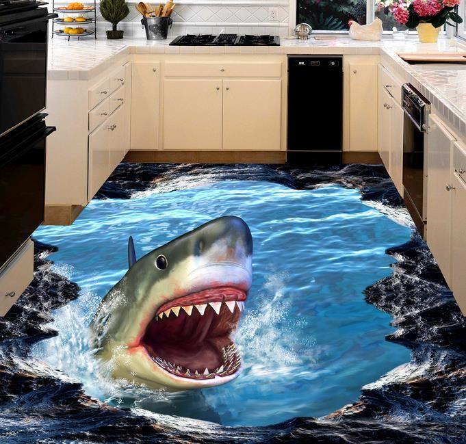 wall mural wallpaper القرش 3D ثلاثي الأبعاد اللوحة 3D صور خلفيات سطح المكتب في HD
