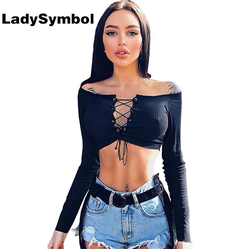 0116fe3349e 2019 LadySymbol Off Shoulder Lace Up Black Blouse Shirt Women Long Sleeve  Blusa Female Elegant Autumn Sexy Slim Casual Crop Top Women From Edwiin04