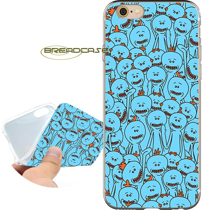 new arrival e4753 ddb17 Rick Morty Mr. Meeseeks Cases for iPhone 10 X 7 8 6S 6 Plus 5S 5 SE 5C 4S 4  iPod Touch 6 5 Clear Soft TPU Silicone Cover.