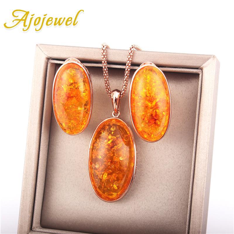 Ajojewel Big Yellow Stone Sets Gioielli donne Collana ciondolo Orecchini Set Fashion Jewellery Set Bijoux in resina