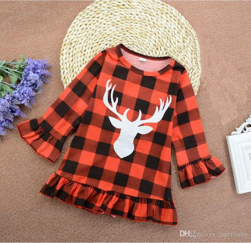78957e9ad 2019 Christmas Girls Dress Baby Red Plaid Dresses Kids Deer Ruffle Princess  Dress Long Sleeve Dress Girls Party Dresses Baby Girl Clothes YL285 From ...