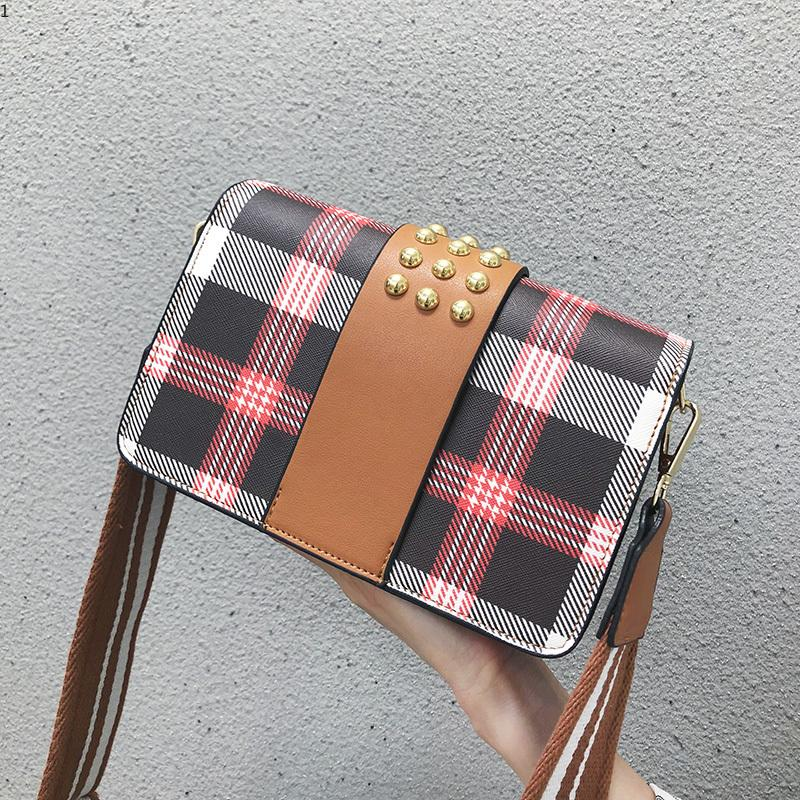 0316e2abb20 New Arrival Street Style Plaid Handbag Fashion Rivet Lady Shoulder Bag  Brief Tote Purse Luxury Designer Women Messenger Flap Crossbody Bag