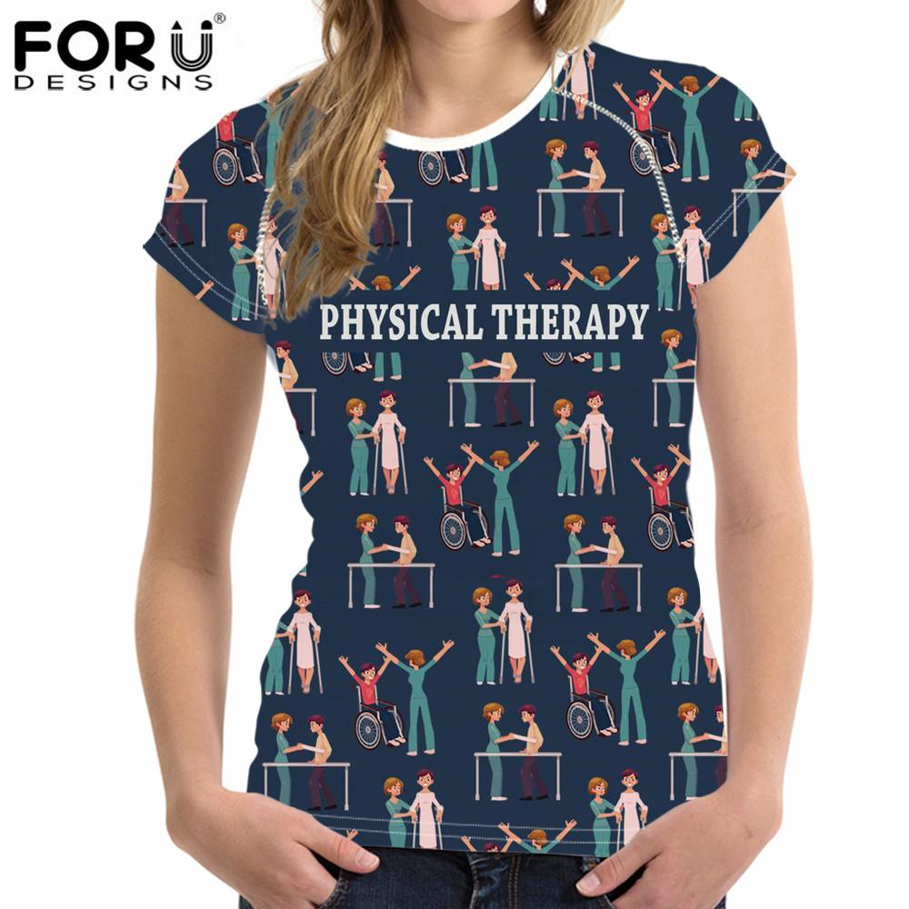 9e7a915f FORUDESIGNS 3D Physical Therapy Printed Short Sleeve T Shirt Women Funny T  Shirt For Lady Girl Top Tee Hipster O Neck Tshirt Best T Shirts Design All T  ...