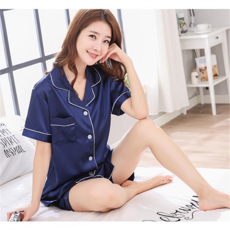4d23919ae0c18 2019 Summer Silk Pajamas Set For Women Satin Short Sleeved Soft Top Women  Pajamas Sets Pijamas Spring Homewear Nightwear Suits From Oott