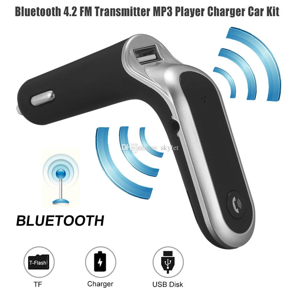 S7 Car Bluetooth FM Transmitter FM Adapter with USB Car Charger Audio Player MP3 Handfree Support TF Cards for Universal Cellphone in Box